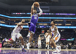 December 29, 2017 - Sacramento, CA, USA - The Sacramento Kings' Frank Mason III (10) drives to the basket against the Phoenix Suns on Friday, Dec. 29, 2017, at the Golden 1 Center in Sacramento, Calif. (Credit Image: © Hector Amezcua/TNS via ZUMA Wire)