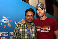Gaurav and Enrique Iglesias during the Airtel CLT29 Press Conference with Enrique Iglesias held at the Sandton Sun Hotel in Johannesburg on the 9 September 2010 as part of the build up to the Champions League T20 tournament being held in South Africa between the 10th and 26th September 2010..Photo by: Ron Gaunt/SPORTZPICS/CLT20