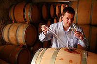 Epernay, France  in the cellars of Champagne Janisson-Baradon..Cyril Janisson, who makes Champagne in the organic traditional method, aging in oak barrels..He is tasting wine put into barrels in September 2007..Epernay is a major producer of Champagne...Photo by Owen Franken for the NY Times..May 17, 2008