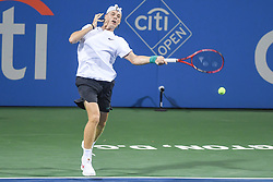 August 2, 2018 - Washington, D.C, U.S - DENIS SHAPOVALOV hits a forehand during his 3rd round match at the Citi Open at the Rock Creek Park Tennis Center in Washington, D.C. (Credit Image: © Kyle Gustafson via ZUMA Wire)