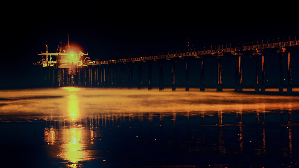 This is a picture of the Scripps Pier in California.<br /> <br /> Camera <br /> NIKON D5000<br /> Lens <br /> 17.0-50.0 mm f/2.8<br /> Focal Length <br /> 50<br /> Shutter Speed <br /> 30<br /> Aperture <br /> 5.6<br /> ISO <br /> 400