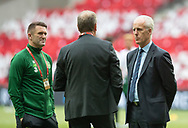 FOOTBALL: Assistant Manager Robbie Keane and Manager Mick McCarthy (Ireland) talking to Coach Åge Hareide (Denmark) before the EURO 2020 Qualifier match between Denmark and Ireland at Parken Stadium on June 7, 2019 in Copenhagen, Denmark. Photo by: Claus Birch / ClausBirchDK.