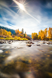 """Truckee River in Autumn 17"" - A very long exposure photo of Cottonwood trees and fall colors along Truckee River in Truckee, California."