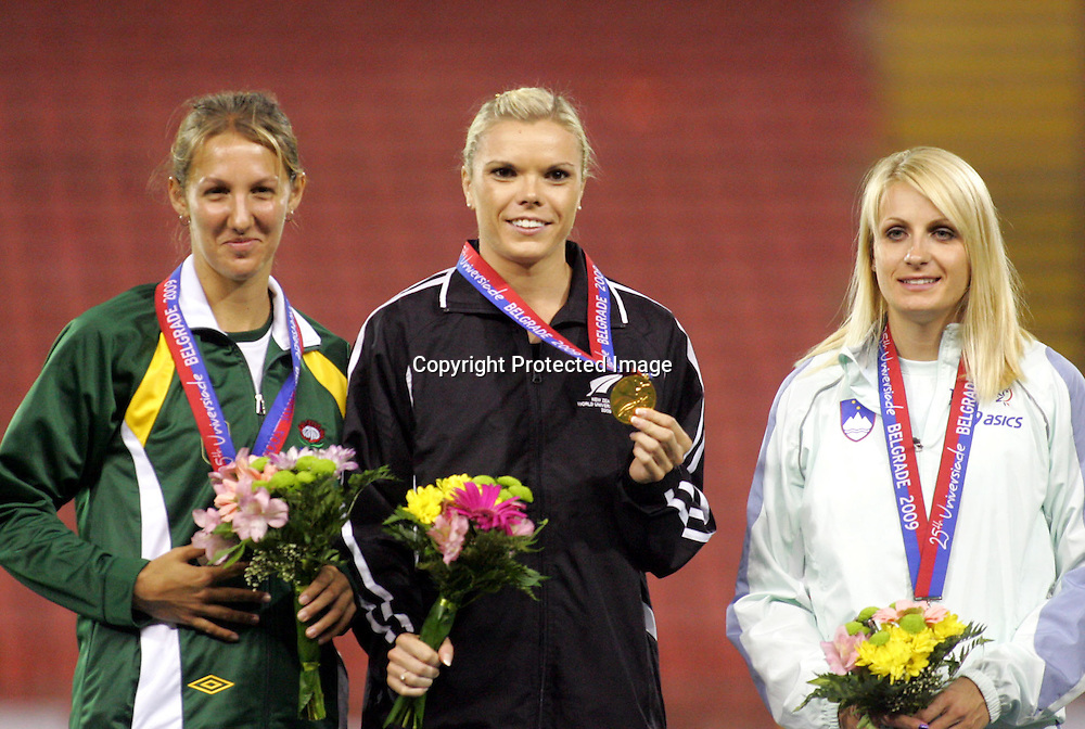 10.07.2009 Belgrade(Serbia)<br />Universiade woman's  200m <br />Le Roux Isabel(L) silver South Africa with  Willams Monique(c)  New Zeland gold and Veit Sabina(r) Slovenia bronze<br />Foto:Aleksandar Djorovic
