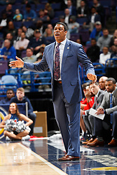 ST. LOUIS, Mo., -- Game 02 of the 2018 SEC Men's Basketball Tournament played between Ole Miss and South Carolina, Wednesday, March 07, 2018 at the Scott Trade Center in ST. LOUIS. Ole Miss head coach Tony Madlock.