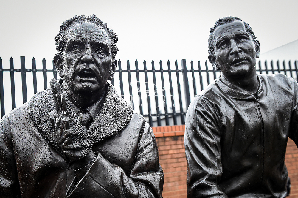Legends of the Lane statue of Former Notts County Manager Jimmy Sirrel (L) and Notts County physio Jack Wheeler (R) during the The FA Cup 4th round match between Notts County and Swansea City at Meadow Lane, Nottingham, England on 27 January 2018. Photo by Jon Hobley.