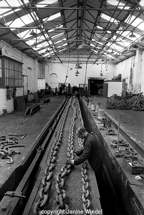 Chainmaking at Griffin Woodhouse Chain Makers in the Black Country West Midlands  in the 1970's