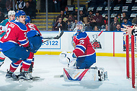 KELOWNA, CANADA - FEBRUARY 17:  Brayden Gorda #3 and Todd Scott #35 of the Edmonton Oil Kings look for the airborne puck against the Kelowna Rockets on February 17, 2018 at Prospera Place in Kelowna, British Columbia, Canada.  (Photo by Marissa Baecker/Shoot the Breeze)  *** Local Caption ***