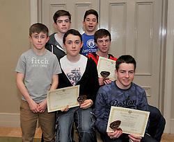 Westport Athletics Awards Boys U15 U16<br /> Connacht and All Ireland Cross Country team winners.<br /> Cian McAllister, Sean O'Hanlon, Patrick Chambers, Alex O' Riain, Shane Ryall and Aaron Doherty.<br /> Pic Conor McKeown