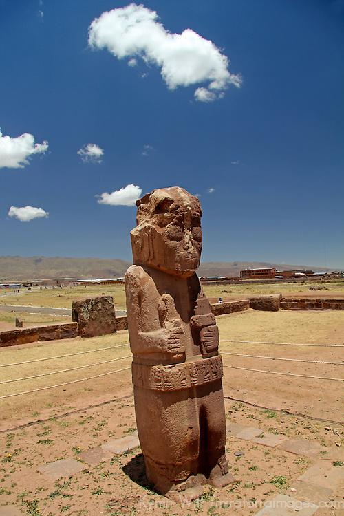South America, Bolivia, Tiwanaku. Fraile Monolith of Pre-Columbian archaeological site of Tiwanaku, a UNESCO World Heritage Site.