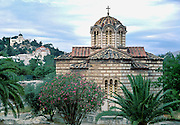 Church of the Holy Apostles, built in the early 11th century, commemorates Saint Paul's teachings in the Ancient Agora in Athens, Greece, Europe.