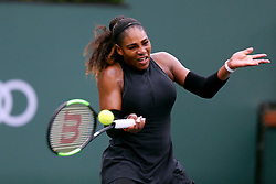 March 10, 2018 - Indian Wells, CA, U.S. - INDIAN WELLS, CA - MARCH 10: Serena Williams ( USA ) hits a forehand  the second round of the BNP Paribas Open on March 10, 2018, at the Indian Wells Tennis Gardens in Indian Wells, CA. (Photo by Adam  Davis/Icon Sportswire) (Credit Image: © Adam Davis/Icon SMI via ZUMA Press)