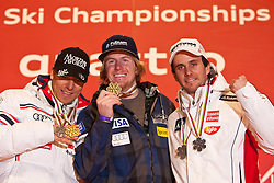 18.02.2011, Medal Placa, Garmisch Partenkirchen, GER, FIS Alpin Ski WM 2011, GAP, Herren, Riesenslalom, Medaillen Zeremonie , im Bild v.l. silber Medaille Cyprien Richard (FRA), Gold Medaille und Weltmeister Ted Ligety (USA) und bronze Medaille Philipp Schoerghofer (AUT) // v.l. silver medal Cyprien Richard (FRA) and Gold Medal and World Champion Ted Ligety (USA) an bronze Medal Philipp Schoerghofer (AUT)  during men's Giant Slalom Medalceremony Fis Alpine Ski World Championships in Garmisch Partenkirchen, Germany on 18/2/2011. EXPA Pictures © 2011, PhotoCredit: EXPA/ J. Groder