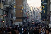 Istanbul. Tramway in Istiklal Street pedestrian zone.