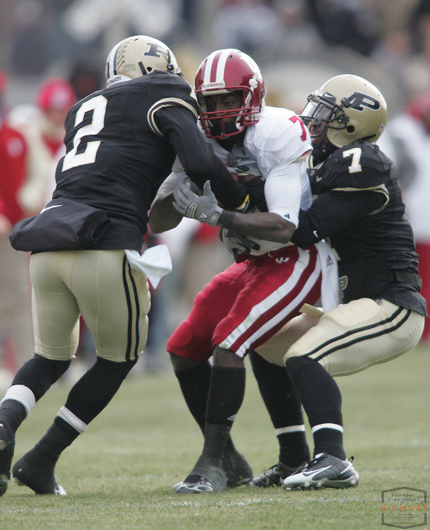 22 November 2008:Indiana wide receiver Ray Fisher (7)  as the Indiana Hoosiers played the Purdue Boilermakers in a college football game in West Lafayette, Ind.
