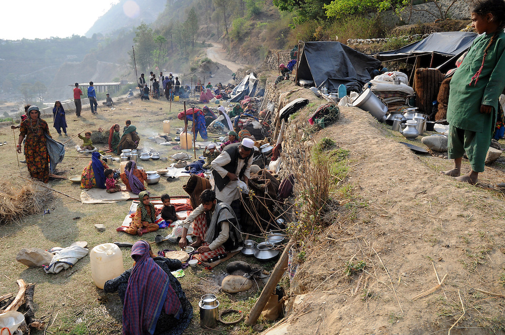 Van Gujjar families camped together along the Bhagirathi River.