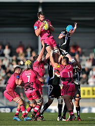 Matt Corker of London Welsh wins the ball at a lineout - Photo mandatory by-line: Patrick Khachfe/JMP - Mobile: 07966 386802 07/03/2015 - SPORT - RUGBY UNION - Exeter - Sandy Park - Exeter Chiefs v London Welsh - Aviva Premiership