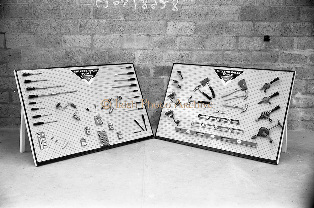 19/08/1966<br /> 08/19/1966<br /> 19 August 1966<br /> Millers Falls Tools display units, advertisement photographs at a premises on the Naas Road, Dublin.  Image shows a selection of tools mounted on two boards