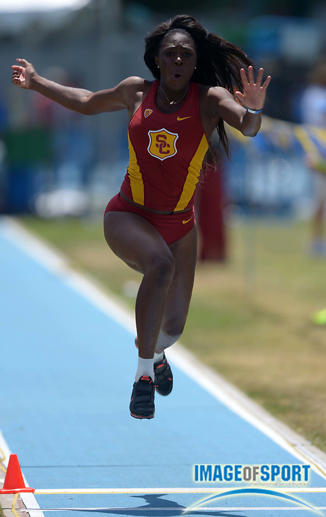 May 4, 2014; Los Angeles, CA, USA; Kemi Olonade of Southern California places second in the womens triple jump at 40-7 1/2 (12.38m) in a dual meet against UCLA at Drake Stadium.