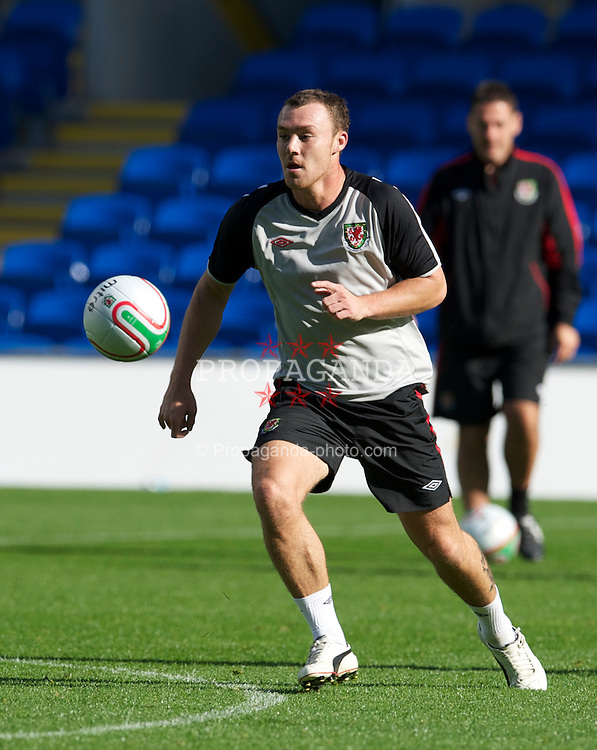 CARDIFF, WALES - Wednesday, October 6, 2010: Wales' Darcy Blake during a training session at the Cardiff City Stadium ahead of the Euro 2012 qualifying Group G match against Bulgaria. (Pic by David Rawcliffe/Propaganda)