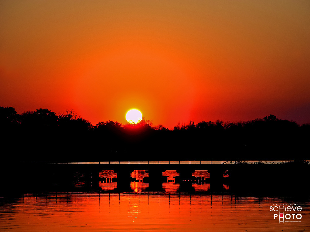 Beautiful sunset over South Bay, Lake Monona, Madison, Wisconsin.