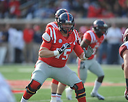 Mississippi offensive lineman Robert Conyers (75) vs. Arkansas at Vaught-Hemingway Stadium in Oxford, Miss. on Saturday, November 9, 2013. Mississippi won 34-24. (AP Photo/Oxford Eagle, Bruce Newman)