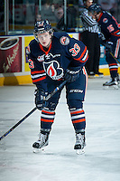KELOWNA, CANADA - DECEMBER 28: Conner McDonald #33 of the Kamloops Blazers stands on the ice during warm up against the Kelowna Rockets on December 28, 2015 at Prospera Place in Kelowna, British Columbia, Canada.  (Photo by Marissa Baecker/Shoot the Breeze)  *** Local Caption *** Conner McDonald;