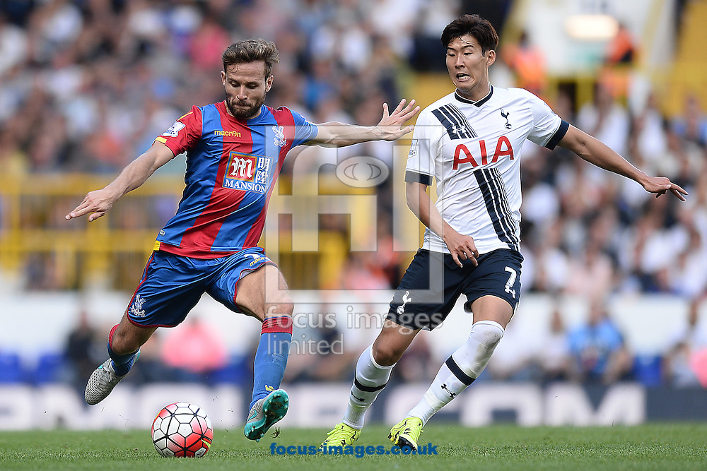 Yohan Cabaye of Crystal Palace does battle with Son Heung-Min of Tottenham Hotspur during the Barclays Premier League match between Tottenham Hotspur and Crystal Palace at White Hart Lane, London<br /> Picture by Richard Blaxall/Focus Images Ltd +44 7853 364624<br /> 20/09/2015
