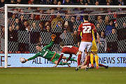 Nottingham Forest goalkeeper Dorus de Vries makes a save during the Sky Bet Championship match between Nottingham Forest and Preston North End at the City Ground, Nottingham, England on 8 March 2016. Photo by Jon Hobley.