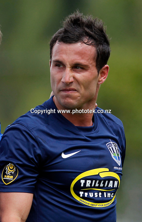 Auckland's Manel Exposito is angry afer being injured. ASB Premiership, Round Three, Auckland City FC v Hawkes Bay United, Kiwitea Street Auckland, Sunday 18th November 2012. Photo: Shane Wenzlick
