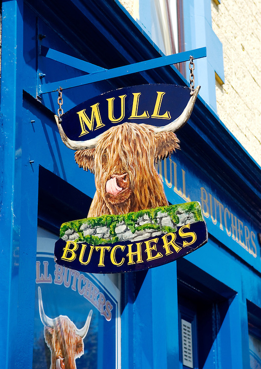 Highland cattle sign outside the butchers shop in Tobermory, Isle of Mull, Hebrides, Scotland, UK