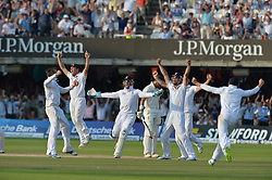 © Licensed to London News Pictures. 21/07/2013. Graeme Swann (left) celebrates taking the wicket of Pattinson to win the 2nd test on day 4 of the Second Test England v Australia The Ashes Lord's Cricket Ground, London on July 21, 2013. England won the match taking a 2 - 0 lead in the series. Photo credit: Mike King/LNP