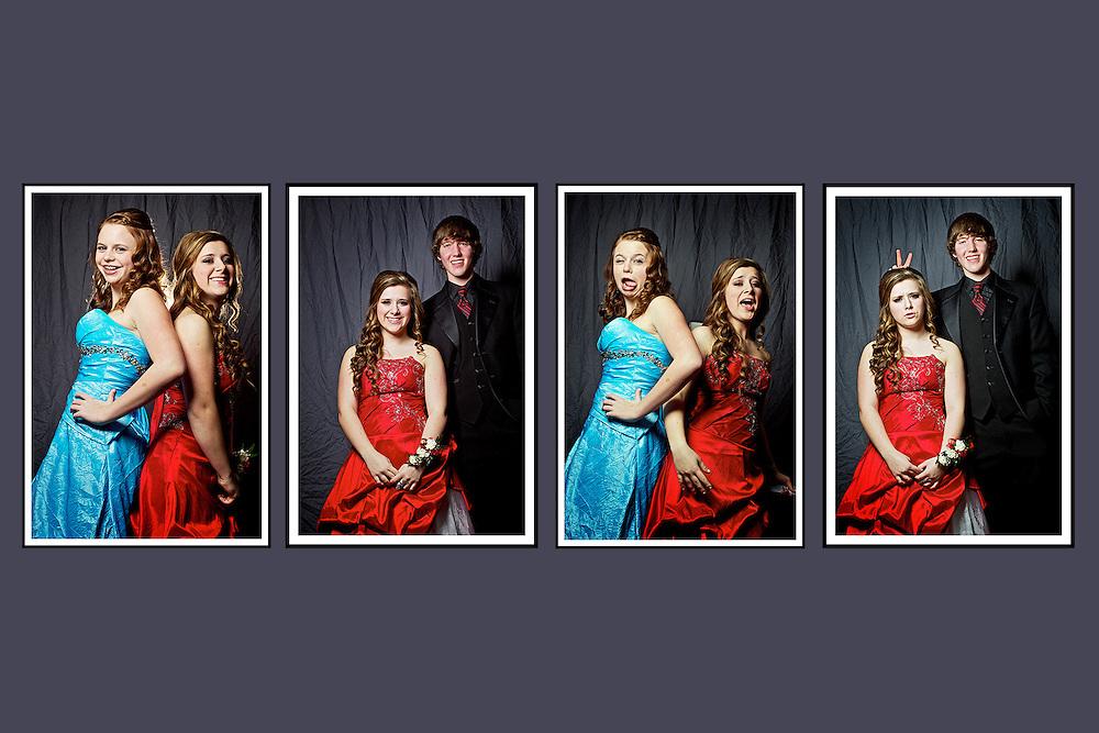 Felicia Pollos, Paige Frederickson, Devon Clark portraits before the winter prom Saturday, January 28, 2012 at Coeur d'Alene High.