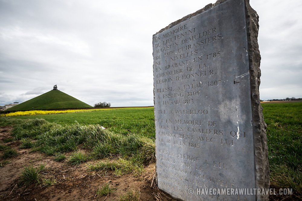 Marker at the Lion's Mound (Butte du Lion), an artificial hill built on the battlefield of Waterloo to commemorate the location where William II of the Netherlands was injured during the battle. The hill is situated on a spot along the line where the Allied army under the Duke of Wellington's command took up positions during the Battle of Waterloo.