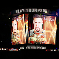 04 June 2017: Golden State Warriors guard Klay Thompson (11) is seen on the jumbotron during players introduction prior to the Golden State Warriors 132-113 victory over the Cleveland Cavaliers, in game 2 of the 2017 NBA Finals, at the Oracle Arena, Oakland, California, USA.