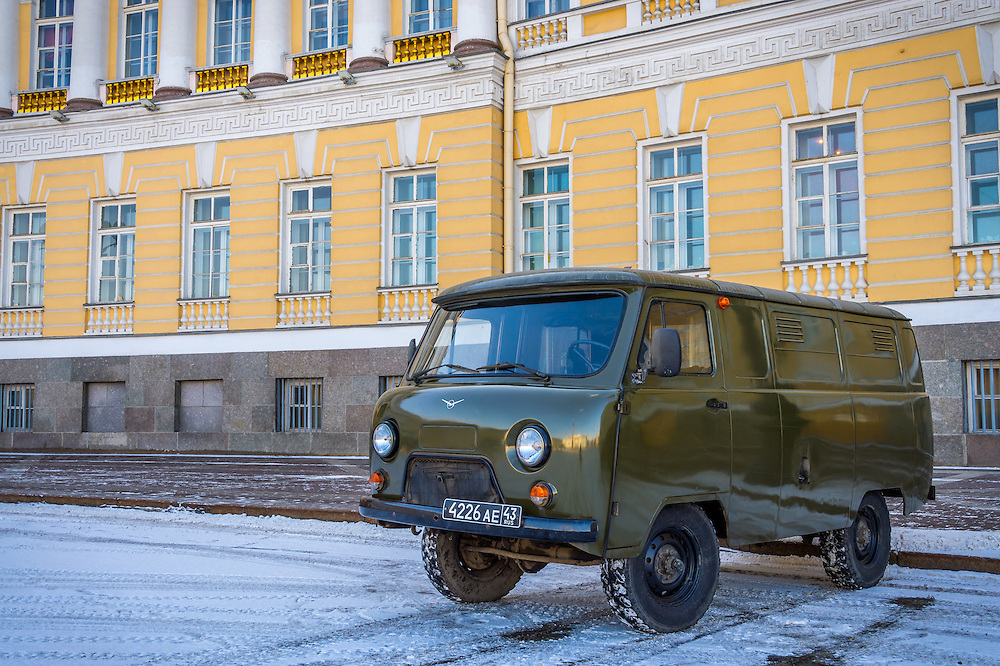ST. PETERSBURG - CIRCA MARCH 2013: Old van parked in the streets of St. Petersburg, circa March 2013. The city is a tourist attraction with 221 museums, 2000 libraries, and 80  plus theaters within the city.