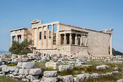 ATHENS, GREECE - APRIL 17 : A general view of the Erechtheum, on April 17, 2007, in Athens, Greece. The Erechtheum was built on the Acropolis, between 421 and 405 BC, in the Ionic Order. The plan is unusual with West facade having only 4 columns, being overlapped by the North porch. The famous Caryatid porch, with 6 sculptures of maidens replacing the columns, faces South towards the Parthenon. (Photo by Manuel Cohen)