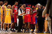 15 January 2010: Guard Baron Davis of the Los Angeles Clippers is held back from fighting by teammate Al Thornton while playing against the Los Angeles Lakers during the second half of the Lakers 126-86 victory over the Clippers at the STAPLES Center in Los Angeles, CA.