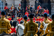The parade on Horse Guards - His Royal Highness the Duke of York reviews the final rehearsal for the Trooping the Colour on Horseguards Parade and the Mall.