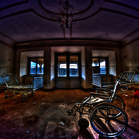 Wheelchair in dark empty room