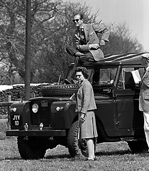 File photo dated 20/04/68 of the Duke of Edinburgh, perched on the roof of a Land Rover, watching the Horse Trials at Badminton, Gloucestershire, with Queen Elizabeth II. The Royal couple will celebrate their platinum wedding anniversary on November 20. The Royal couple will celebrate their platinum wedding anniversary on November 20.