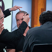 MIAMI, FL MARCH 20, 2018: Telemundo Network soccer commentator Andres Cantor, famous for his goal call,  gets a touch up during studio rehearsals in the network's new state of the art building. The team of commentators were rehearsing and getting acquainted with the facilities. <br /> (Photo by Angel Valentin-For The Washington Post )