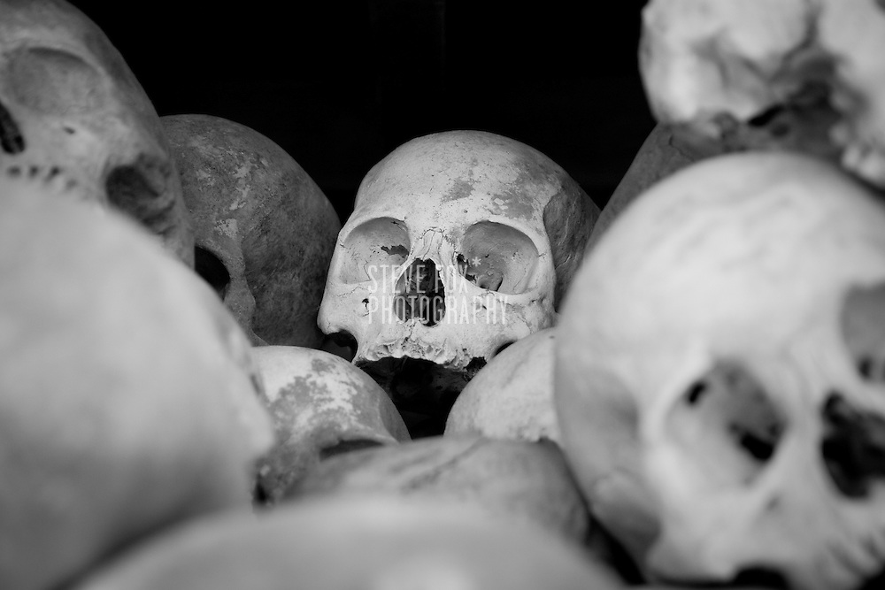 Human skulls at Choueng Ek, Phnom Penh, Cambodia