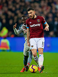 LONDON, ENGLAND - Monday, February 4, 2019: Liverpool's Naby Keita (L) and West Ham United's Robert Snodgrass during the FA Premier League match between West Ham United FC and Liverpool FC at the London Stadium. (Pic by David Rawcliffe/Propaganda)