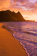 Evening light on Na Pali Coast spires from Tunnels Beach, Island of Kauai, Hawaii