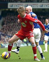 Photo: Paul Greenwood.<br />Everton v Blackburn Rovers. The Barclays Premiership. 10/02/2007. Blackburn's Paul Gallagher, left, holds off Everton's Andy Johnson