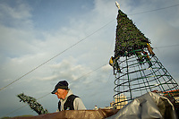 Gary Morgan collects artificial pine boughs Tuesday used by workers to wrap the framing of the 50-foot-tall tree on top of the Hagadone Corporate building that is part of Coeur d'Alene's annual holiday light show.