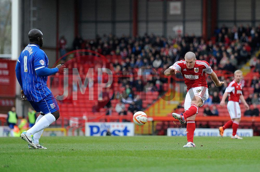 Bristol City's Adam El-Abd takes a shot at goal. - Photo mandatory by-line: Dougie Allward/JMP - Tel: Mobile: 07966 386802 01/03/2014 - SPORT - FOOTBALL - Bristol - Ashton Gate - Bristol City v Gillingham - Sky Bet League One