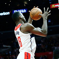 09 December 2017: Washington Wizards center Ian Mahinmi (28) grabs a rebound during the LA Clippers 113-112 victory over the Washington Wizards, at the Staples Center, Los Angeles, California, USA.