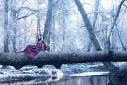 a woman in a purple dress is sitting on a trunk above a river in winter